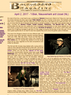 """Read the 2017 review extract from Background Magazine: """"….The fantastic progressive rock music in combination with the costumes and other props are a real feast for your eyes and ears … A band which covers it all the way are The Book of Genesis."""" – by Henri Strik."""